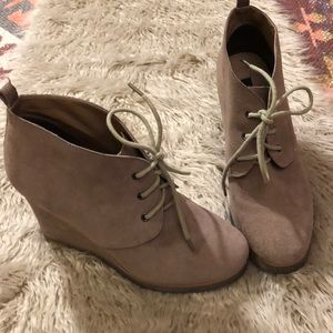 Taupe Suede Boots - Shoemint